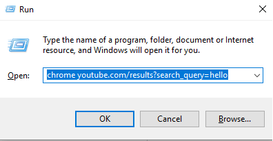 """browser name """"youtube.com/results?search_query=SEARCH"""