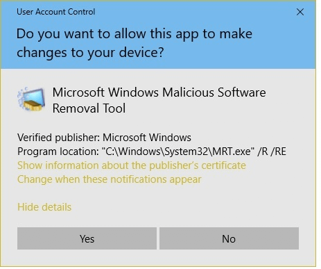 Malicious Software Removal tool – mrt